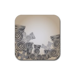 Background Retro Abstract Pattern Rubber Coaster (square)