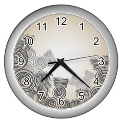 Background Retro Abstract Pattern Wall Clocks (Silver)