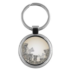 Background Retro Abstract Pattern Key Chains (round)