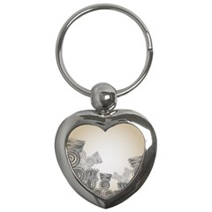 Background Retro Abstract Pattern Key Chains (Heart)