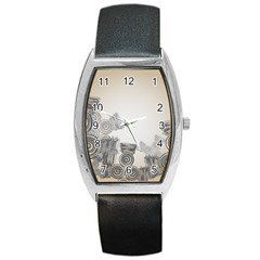 Background Retro Abstract Pattern Barrel Style Metal Watch