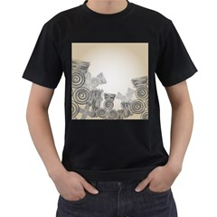 Background Retro Abstract Pattern Men s T-Shirt (Black) (Two Sided)