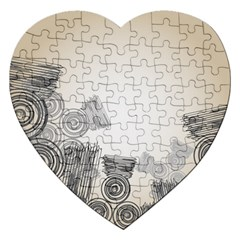 Background Retro Abstract Pattern Jigsaw Puzzle (heart)