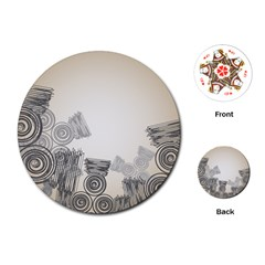Background Retro Abstract Pattern Playing Cards (Round)