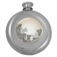 Background Retro Abstract Pattern Round Hip Flask (5 Oz)