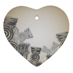 Background Retro Abstract Pattern Heart Ornament (Two Sides)