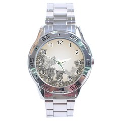 Background Retro Abstract Pattern Stainless Steel Analogue Watch