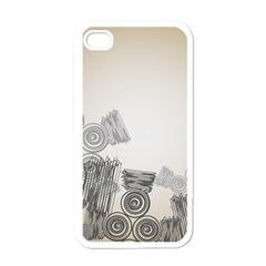 Background Retro Abstract Pattern Apple iPhone 4 Case (White)