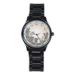 Background Retro Abstract Pattern Stainless Steel Round Watch