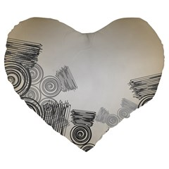Background Retro Abstract Pattern Large 19  Premium Flano Heart Shape Cushions