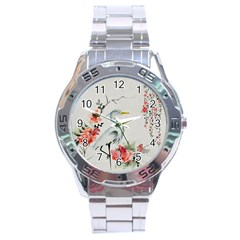 Background Scrapbook Paper Asian Stainless Steel Analogue Watch
