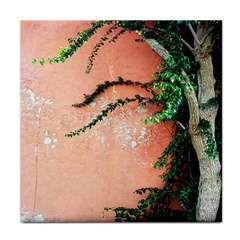 Background Stone Wall Pink Tree Tile Coasters