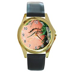 Background Stone Wall Pink Tree Round Gold Metal Watch