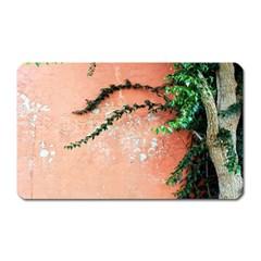 Background Stone Wall Pink Tree Magnet (Rectangular)