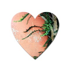 Background Stone Wall Pink Tree Heart Magnet