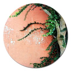 Background Stone Wall Pink Tree Magnet 5  (Round)