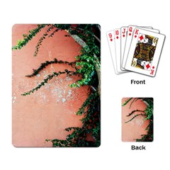 Background Stone Wall Pink Tree Playing Card