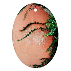 Background Stone Wall Pink Tree Oval Ornament (Two Sides)