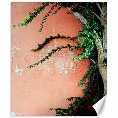 Background Stone Wall Pink Tree Canvas 8  x 10