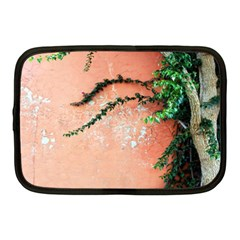 Background Stone Wall Pink Tree Netbook Case (Medium)