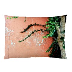 Background Stone Wall Pink Tree Pillow Case