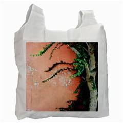 Background Stone Wall Pink Tree Recycle Bag (One Side)