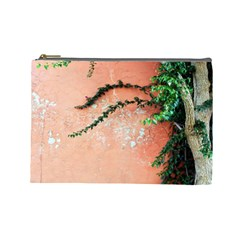 Background Stone Wall Pink Tree Cosmetic Bag (large)