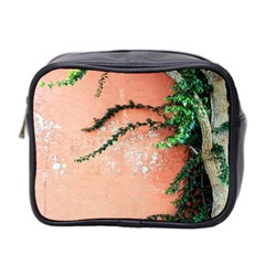 Background Stone Wall Pink Tree Mini Toiletries Bag 2-Side