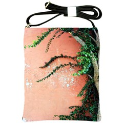 Background Stone Wall Pink Tree Shoulder Sling Bags