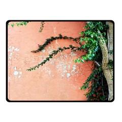 Background Stone Wall Pink Tree Fleece Blanket (Small)