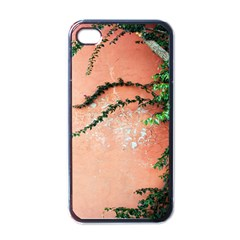 Background Stone Wall Pink Tree Apple iPhone 4 Case (Black)