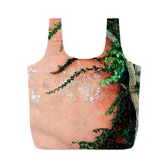 Background Stone Wall Pink Tree Full Print Recycle Bags (M)