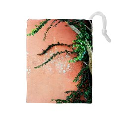 Background Stone Wall Pink Tree Drawstring Pouches (Large)