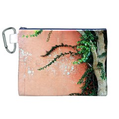 Background Stone Wall Pink Tree Canvas Cosmetic Bag (XL)