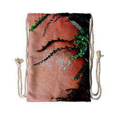 Background Stone Wall Pink Tree Drawstring Bag (small)