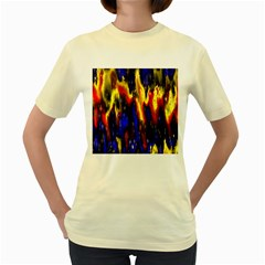 Banner Header Plasma Fractal Women s Yellow T-Shirt