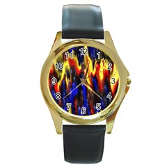 Banner Header Plasma Fractal Round Gold Metal Watch