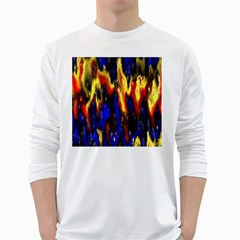 Banner Header Plasma Fractal White Long Sleeve T-Shirts