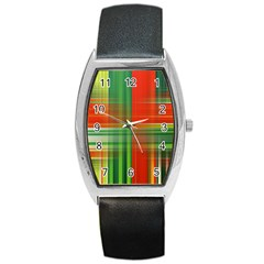 Background Texture Structure Green Barrel Style Metal Watch