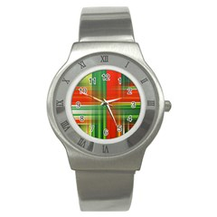 Background Texture Structure Green Stainless Steel Watch