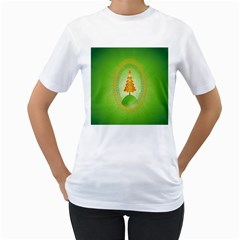 Beautiful Christmas Tree Design Women s T Shirt (white) (two Sided)