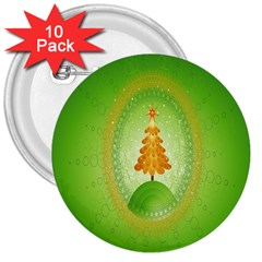Beautiful Christmas Tree Design 3  Buttons (10 Pack)