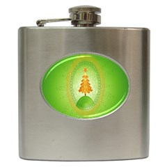 Beautiful Christmas Tree Design Hip Flask (6 oz)