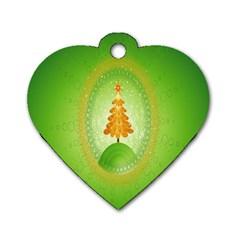 Beautiful Christmas Tree Design Dog Tag Heart (One Side)