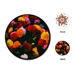 Beautifull Flowers Playing Cards (Round)