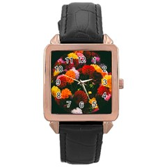 Beautifull Flowers Rose Gold Leather Watch