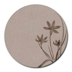 Background Vintage Drawing Sepia Round Mousepads