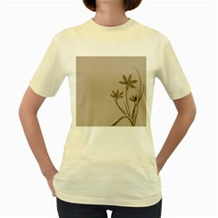 Background Vintage Drawing Sepia Women s Yellow T-Shirt