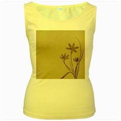 Background Vintage Drawing Sepia Women s Yellow Tank Top