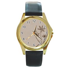 Background Vintage Drawing Sepia Round Gold Metal Watch